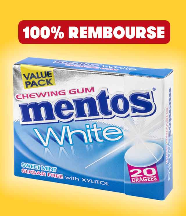 Cashback Mentos Gum White 100% remboursés sur myShopi