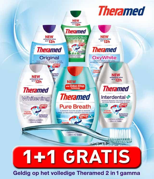 Theramed 2 in 1 tandpasta 1 + 1 Gratis cashback op myShopi