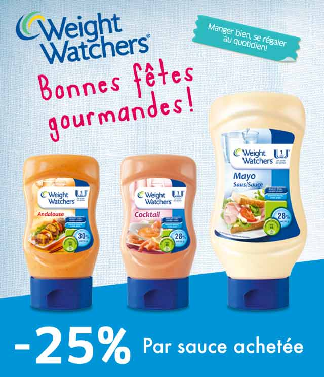 Cashback Sauces Weight Watchers -25% par sauce sur myShopi