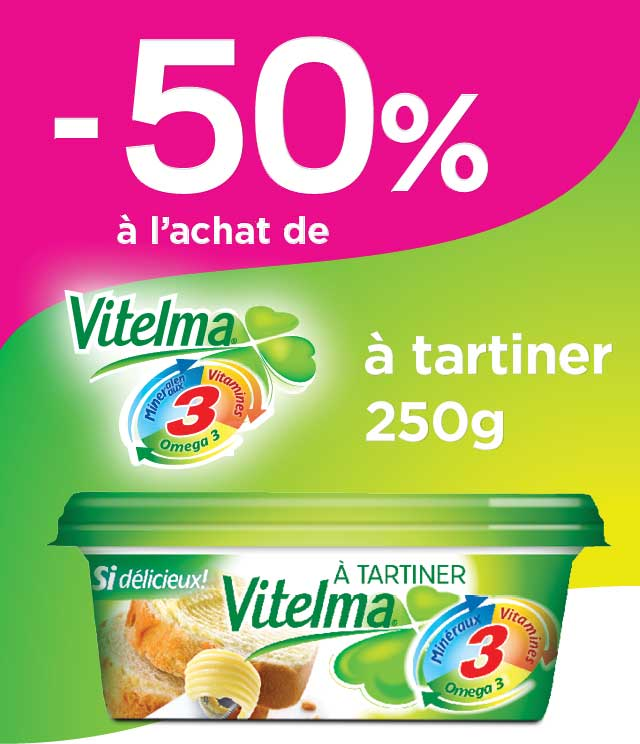 Cashback Vitelma Margarine à tartiner 50% Remboursé sur myShopi