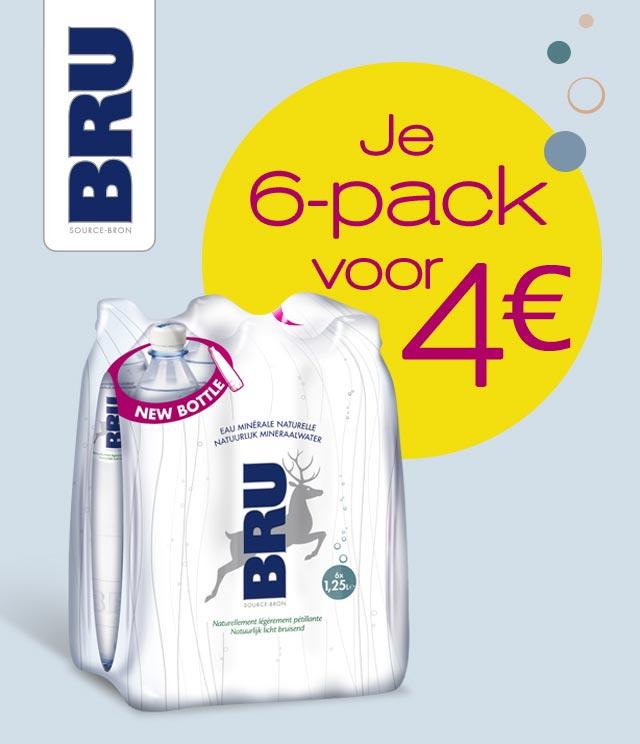 Bru 125 cl Uw 6-pack aan 4€ cashback op myShopi