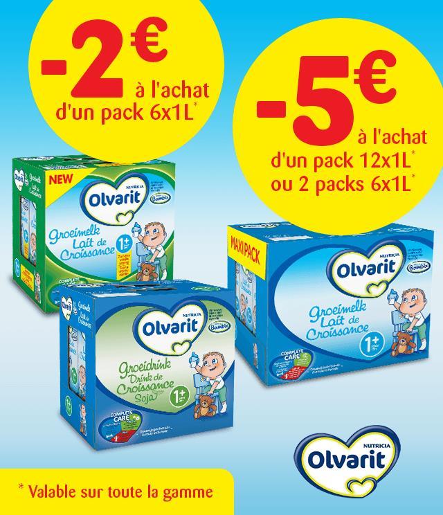 Cashback Olvarit Laits de Croissance 2€ ou 5€ remboursés  sur myShopi