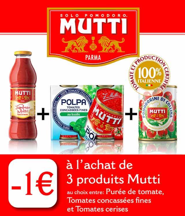 Cashback Mutti 1€ Remboursé sur myShopi