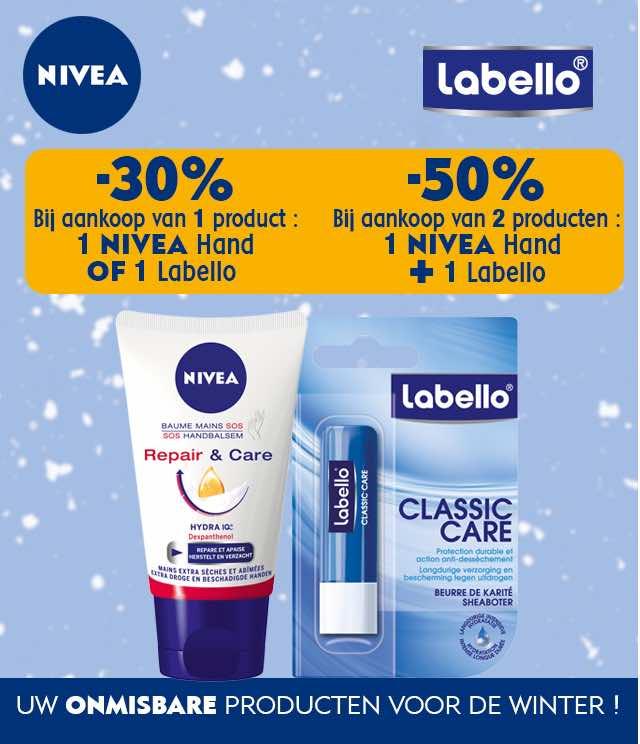 Nivea - Labello -30% of -50% cashback op myShopi