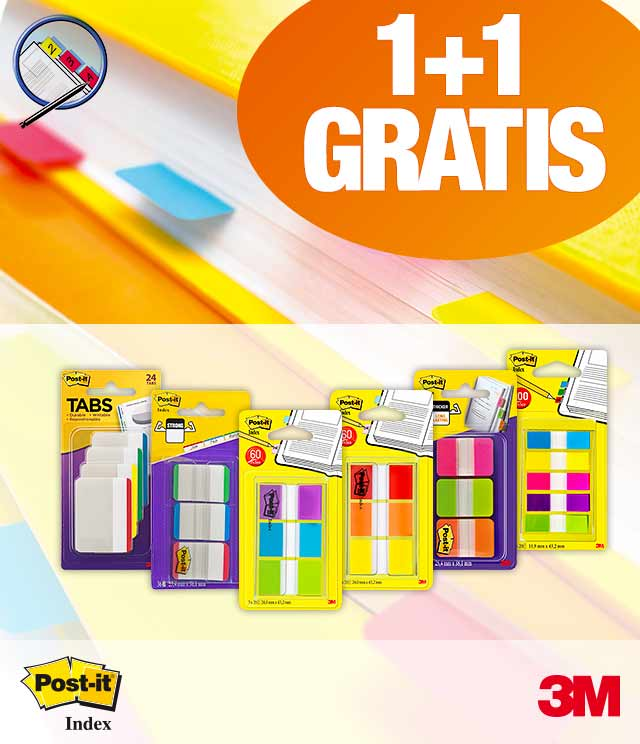 Post-it Index 1 + 1 Gratis cashback op myShopi