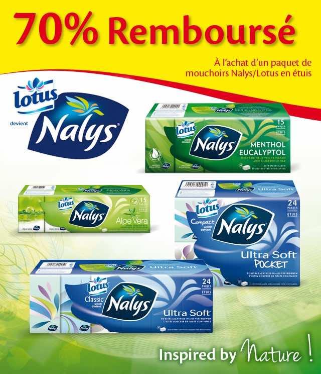 Cashback Nalys Lotus Mouchoirs en étuis 70% Remboursé  sur myShopi