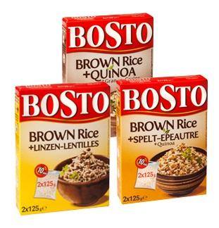 Bosto Brown Rice + quinoa, spelt of linzen 1+1 gratis