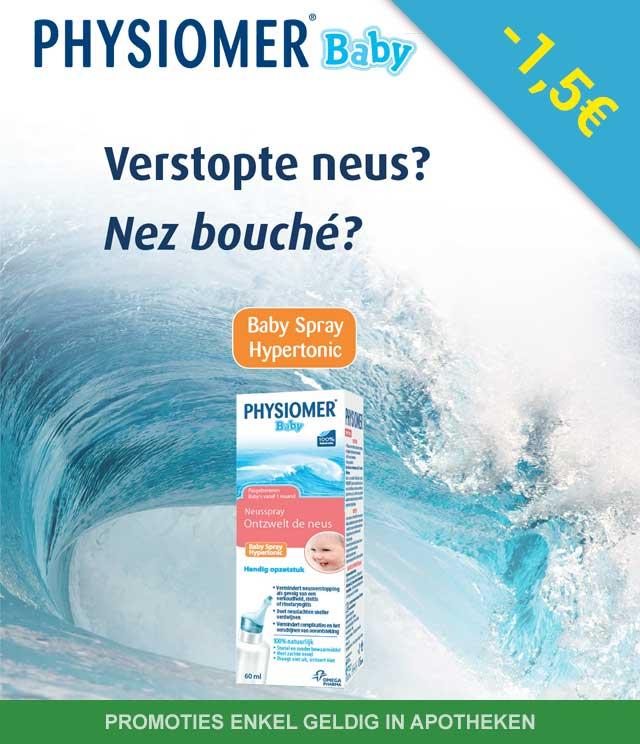 Physiomer Baby - Verstopte neus 1,50€ Terugbetaald cashback op myShopi