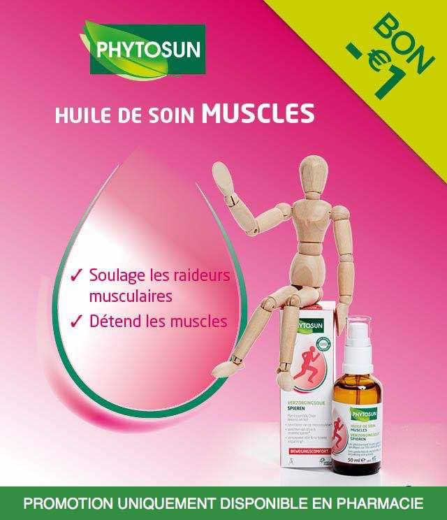 Cashback Phytosun - Huile de soin Muscles 1€ Remboursé sur myShopi