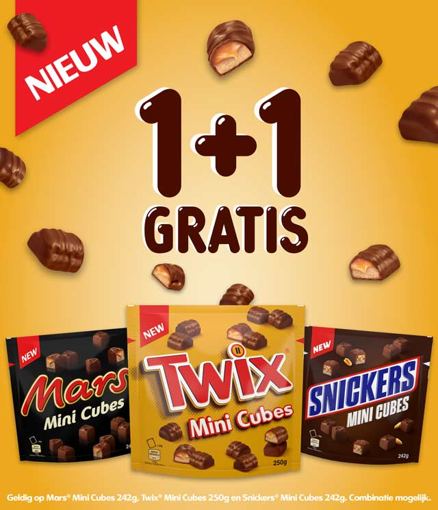 Twix,Snickers,Mars Mini Cubes 1+1 gratis cashback op myShopi