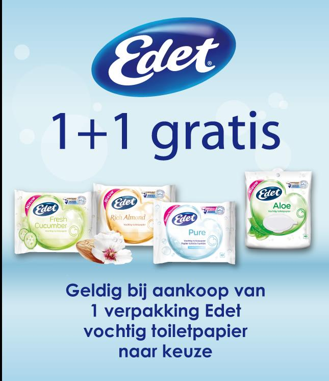 Edet vochtig toiletpapier 1+1 gratis  cashback op myShopi
