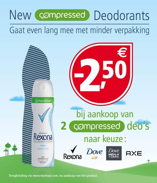 Rexona, Dove, Dove Men+Care, Axe COMPRESSED 2,50€ Terugbetaald cashback op myShopi