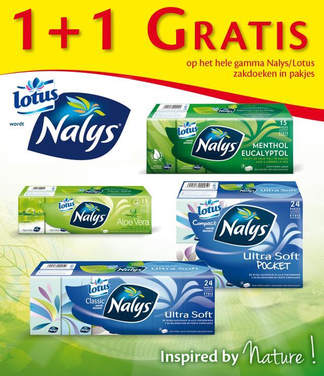 Nalys/Lotus zakdoeken in pakjes 1+1 Gratis cashback op myShopi