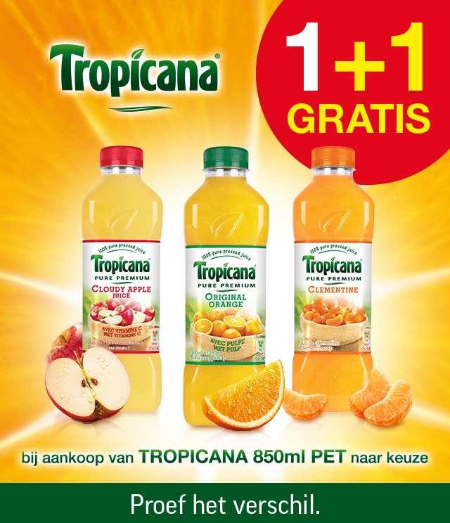 Tropicana 850ml 1 + 1 Gratis cashback op myShopi