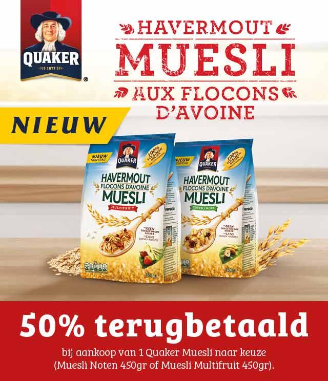 Quaker Muesli 50% Terugbetaald  cashback op myShopi