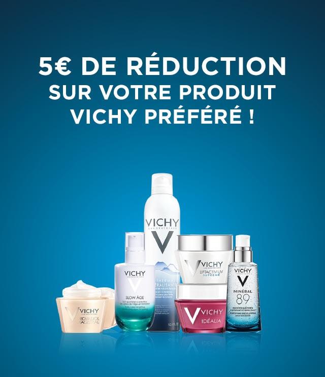 Cashback Vichy soins de beauté 5€ remboursés sur myShopi