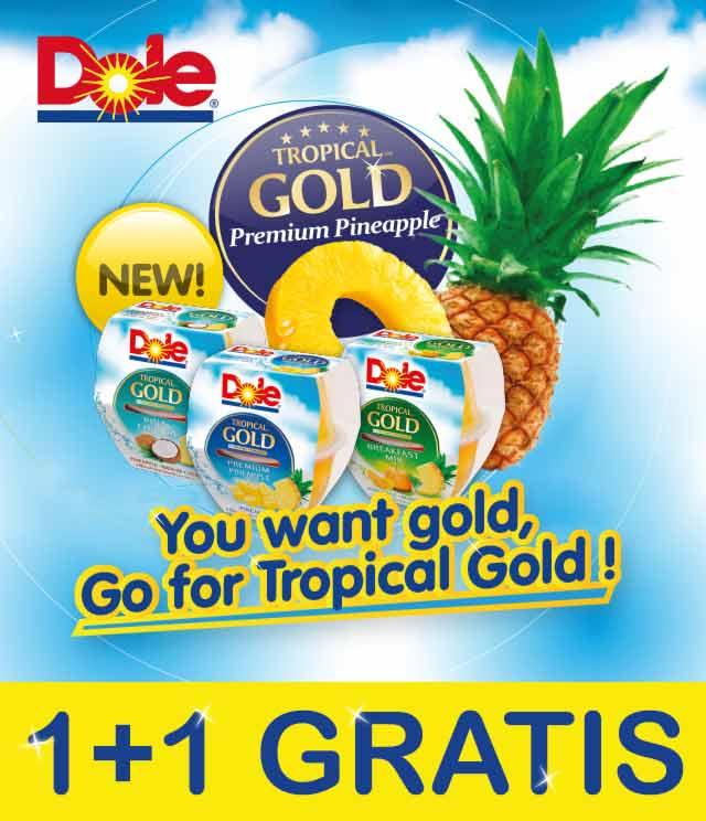 Dole Tropical Gold Fruit Cups 1 + 1 Gratis cashback op myShopi