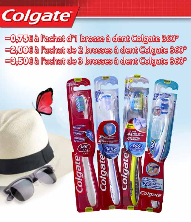 Cashback Brosse à dents Colgate 360° Jusqu'à 3,50€ sur myShopi
