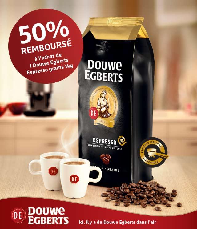 Cashback Douwe Egberts Espresso grains 50% Remboursés sur myShopi