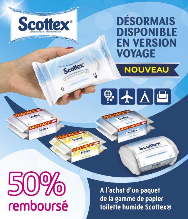 Cashback Scottex Papier Toilette Humide 50% Remboursé sur myShopi