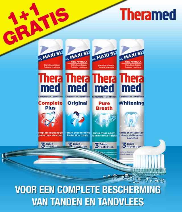 Theramed Tandpasta 1+1 gratis cashback op myShopi