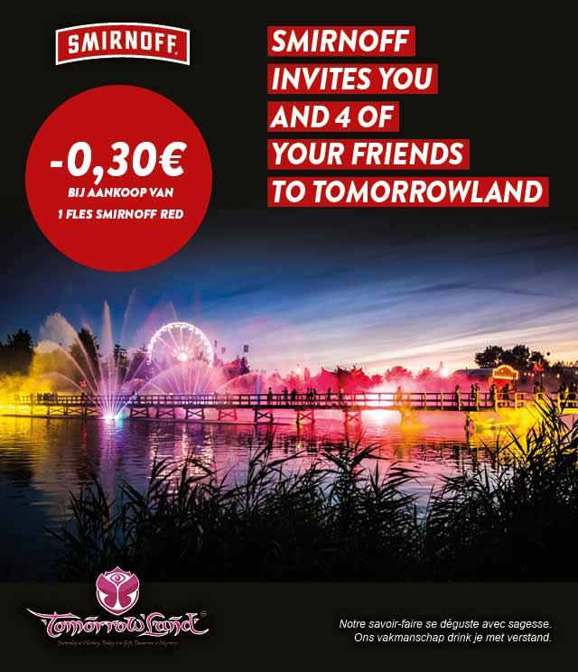 Smirnoff Red Tomorrowland Wedstrijd 0,30€ Terugbetaald cashback op myShopi