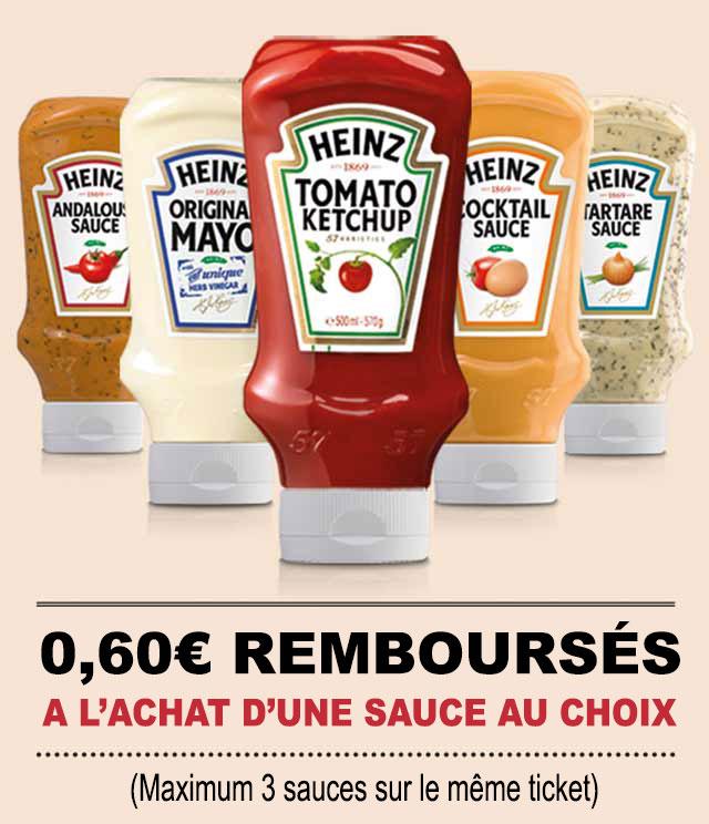 Cashback Sauces Heinz 0,60€ Remboursé sur myShopi