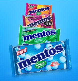 Mentos 4packs 1+1 gratis  cashback op myShopi